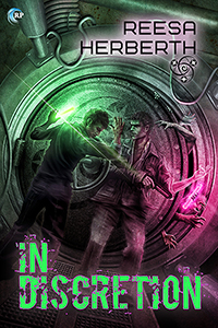In Discretion Book cover - two men leaning against port hole door, zombie hands squeezing through gap